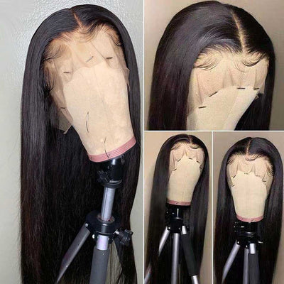 CHEAP 32 30 Inch Straight Lace Front Wig Brazilian Bone Straight Human Hair Wig