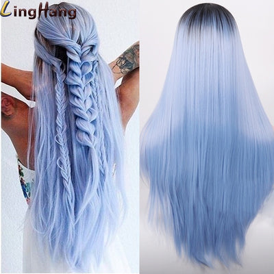 Ombre Blue Long Straight Synthetic Wig For Women