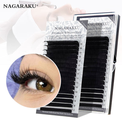 16rows/case 7~15mm mix premium natural synthetic mink individual eyelash extension