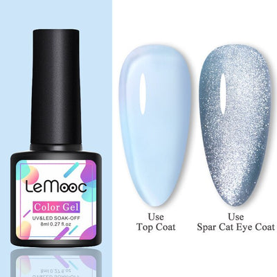 Nail Translucent Gel Polish Magnetic Silver Snowlight Effect Varnishes