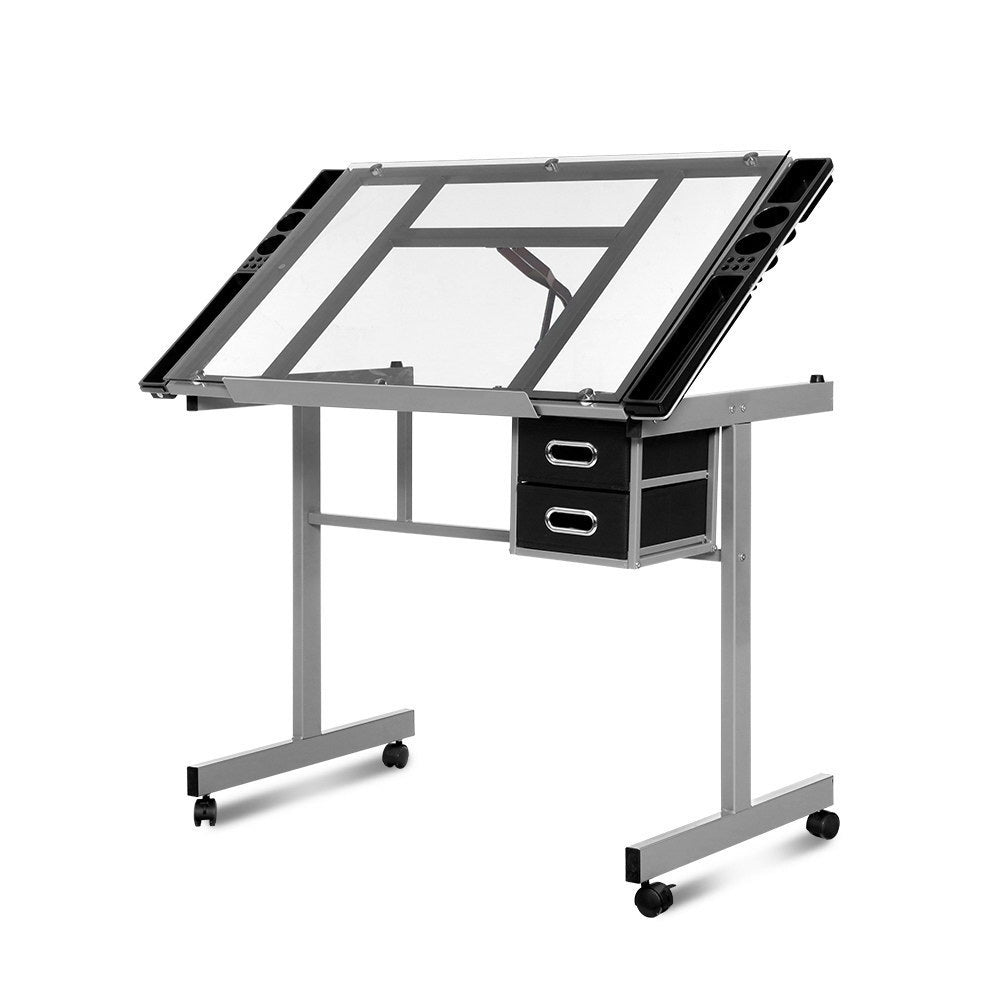 Artiss Drawing Desk Drafting Table Craft Adjustable Glass Art Tilt Drawers Grey