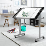 Load image into Gallery viewer, Artiss Drawing Desk Drafting Table Craft Adjustable Glass Art Tilt Drawers Grey