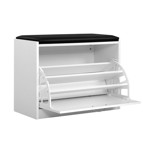 Artiss Shoe Cabinet Bench Shoes Storage Rack Organiser Drawer White 15 Pairs