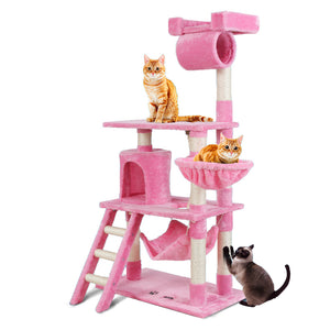 i.Pet Cat Tree 141cm Trees Scratching Post Scratcher Tower Condo House Furniture Wood Pink