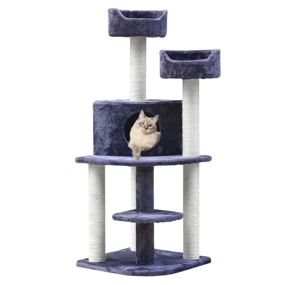 i.Pet Cat Tree 126cm Trees Scratching Post Scratcher Tower Condo House Furniture Wood