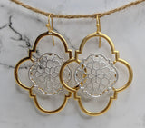 Gold Trim Quatrefoil Earrings