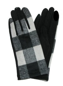 *White and Black Buffalo Plaid Gloves