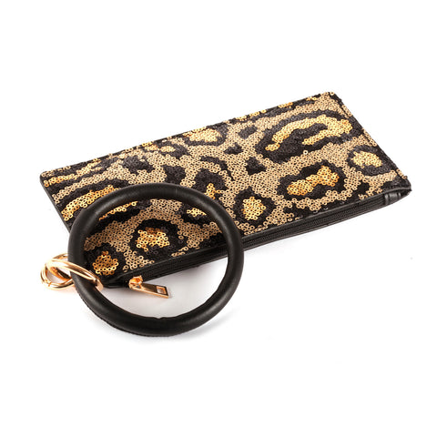 Gold Sequin Leopard Wallet Wristlet