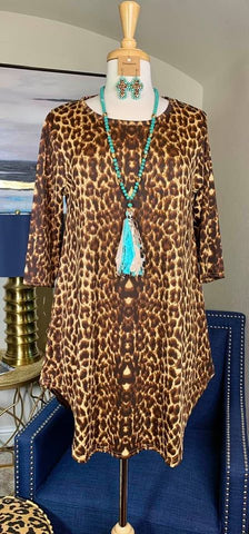 Light Brown Leopard Scoop Tunic