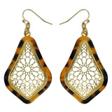 Gold Filigree Pointed Tear Drop Earring with Resin Border