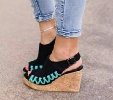 Black & Turquoise Stitch Cork Wedges