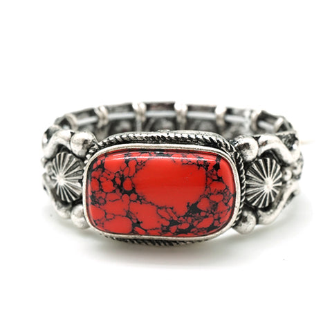 Silver Western Stretch Bracelet with Red Stone