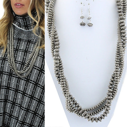 Burnished Silver Textured Beaded 3 Strand Long Necklace