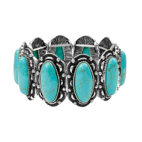 Turquoise Oval Stone Concho Stretch Bracelet