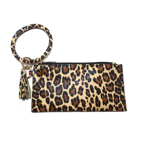 Brown Leopard Wallet Wristlet