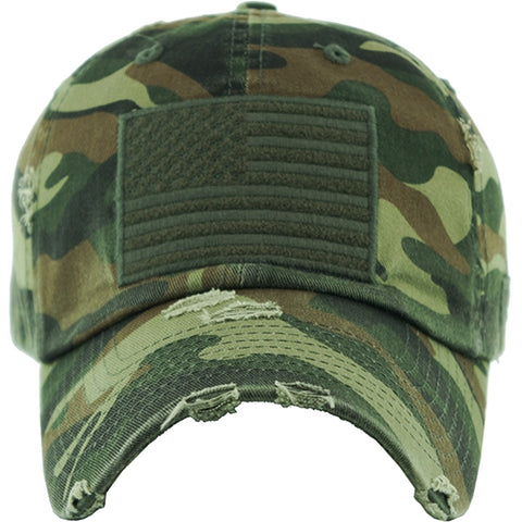 *Olive Green Camo Cap with USA Flag Patch