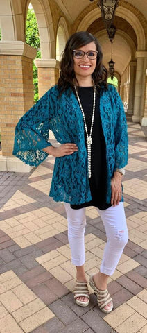 * Teal Lace Cardigan