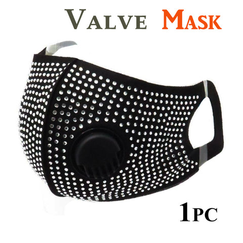 Black Face Mask with Valve & Clear Bling