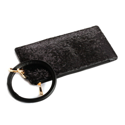 Black Sequin Wallet Wristlet