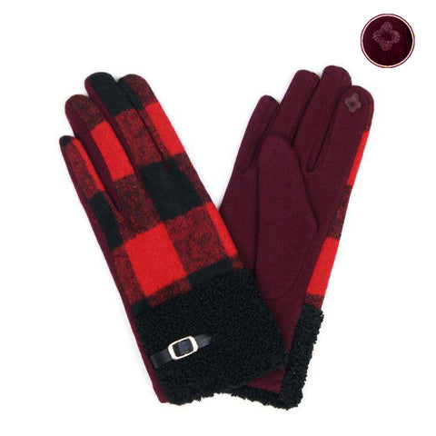 *Red and Black Buffalo Plaid Gloves