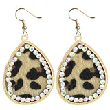 * Light Leopard Teardrop Earrings with Gold and Bling Border