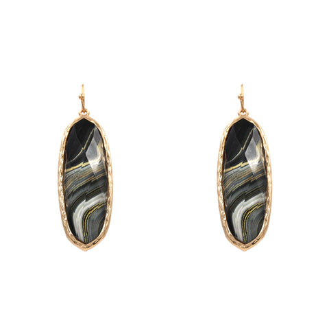 Black & White Marble Swirl Thin Oval Earrings