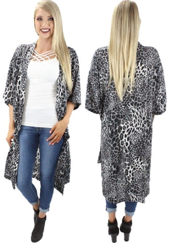 *Grey Leopard Duster with Side Slits