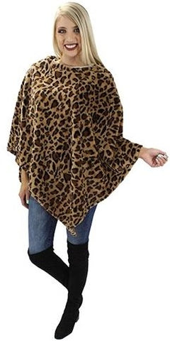 Brown Leopard Poncho Blanket