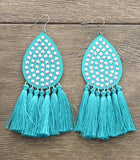 Gala Turquoise Bling Teardrop Large Earrings with Tassels