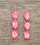 *Neon Pink Triple Bling Oval Dangle Earrings
