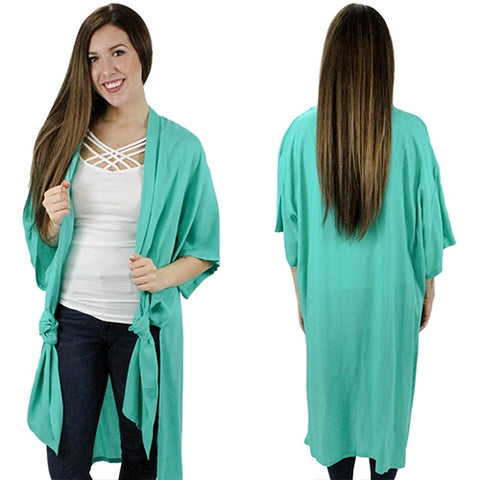 Turquoise Solid Color Duster