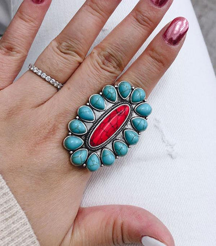 *Turquoise & Red Oval Concho Stretch Ring