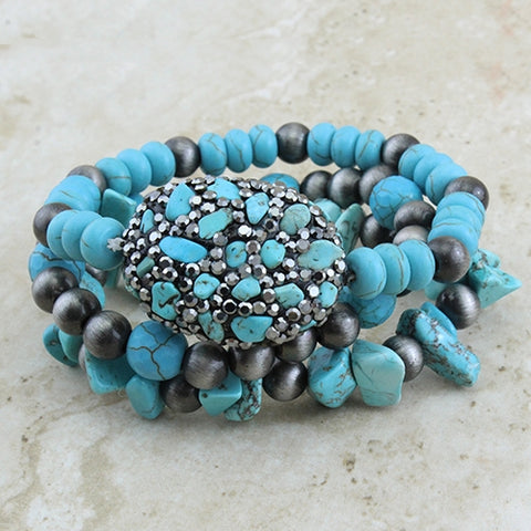 Turquoise Beaded & Silver Navajo Pearl 3 Pc Stretch Bracelets