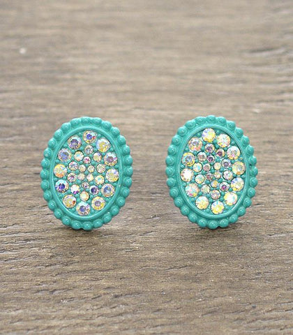 * Turquoise Oval Bling AB stud earrings