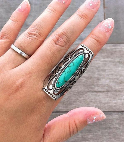 *Silver Cuff Ring with Turquoise Oval Stone