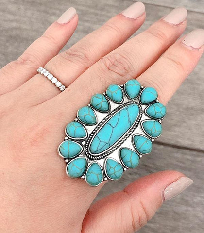 Turquoise Oval Concho Stretch Ring