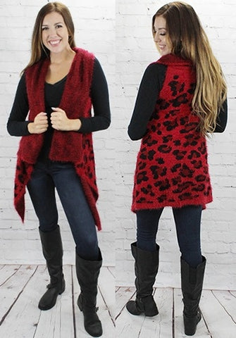 *Red Leopard Fuzzy Sweater Vest