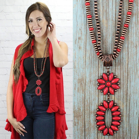 Red & Copper 2 Strand Necklace with Concho Pendant