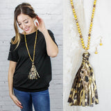 Mustard Beaded Necklace with Arrow Head and Tassel