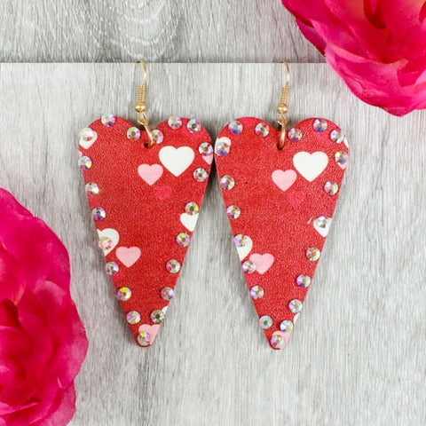 * Red Long Heart Bling Earrings with Heart Designs