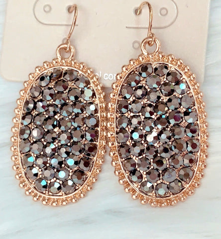 Grey Bling Earrings with Gold Trim
