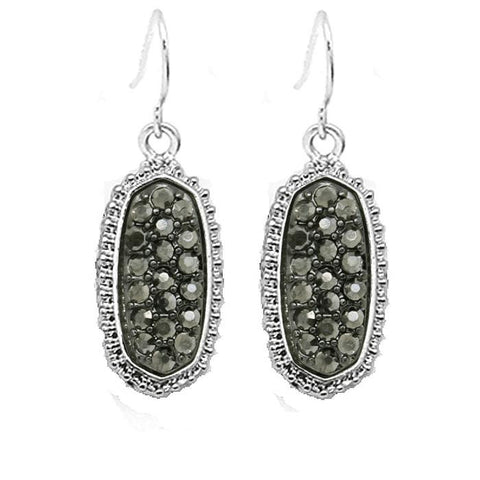 Tiny Oval Earrings Silver Tone with Grey Bling