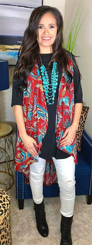 *Maroon and Turquoise Paisley High Low Vest