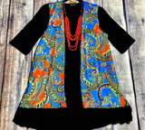 SALE *Royal Blue and Red Paisley Vest with Black Lace Trim