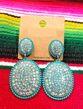 Turquoise Bling Oval Dangle Earrings with Stud Post