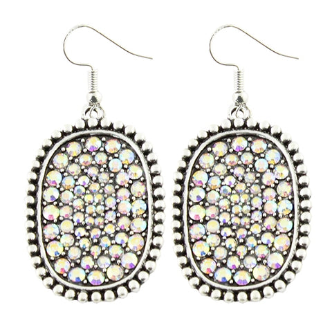 *Silver Tone & AB Bling Oval Earrings