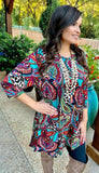 Turquoise Multi Paisley & Leopard Flutter Tunic