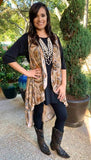 *Taupe Paisley High Low Vest