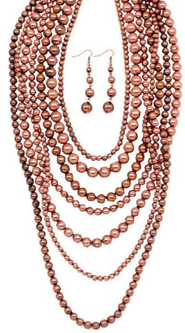 Distressed Copper Layered 7 Strand Necklace