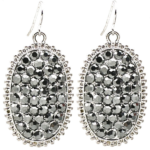 Grey Bling Oval Earrings with Silver Border